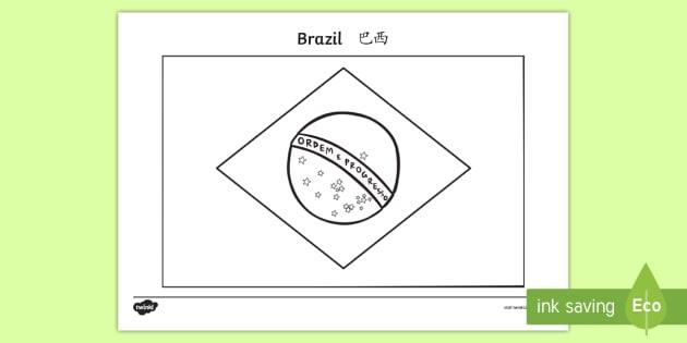 Brazil A4 Flag Coloring Page English/Mandarin Chinese ...