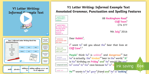 Y1 Letter Writing Informal Model Example Text Example Texts Y1
