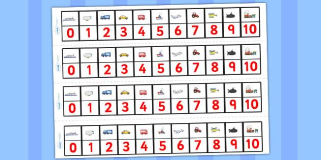 Transport Number Track (1-10) - Maths, Math, transport, number track, numbertrack, Counting, Numberline, Number line, Counting on, Counting back, car, van, lorry, bike, motorbike, plane, aeroplane, tractor, truck, bus