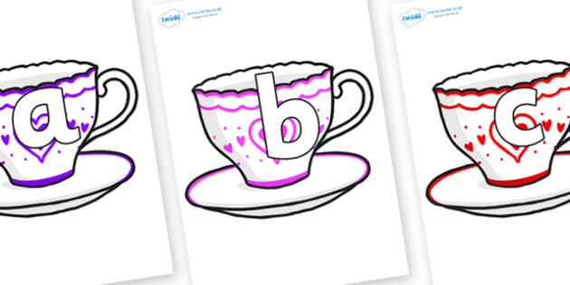 Phoneme Set on Cups and Saucers - Phoneme set, phonemes, phoneme, Letters and Sounds, DfES, display, Phase 1, Phase 2, Phase 3, Phase 5, Foundation, Literacy