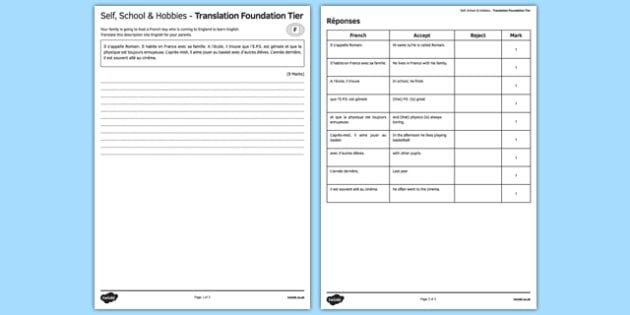 Moi, l'école & mes passetemps - Traduction Foundation Tier - french, Personal identification, school, hobbies, pastimes, moi école, passe-temps, free time, translation, traduction