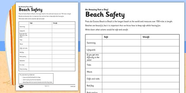 Beach Safety Worksheet / Activity Sheet - beach safety, safety discussion, activity, beach, safety, worksheet