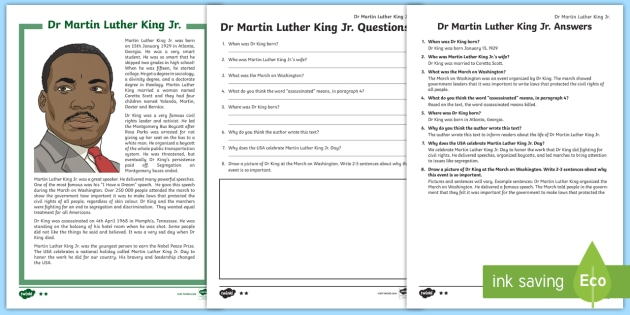 Martin Luther King Jr Differentiated Reading Comprehension Activity