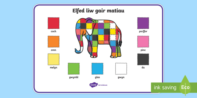 Elmer Colour Word Mat Cymraeg - cymraeg, elmer, colour, word mat, word, mat