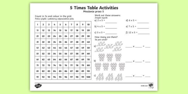 5 Times Table Worksheet / Worksheet English/Polish - 5 Times ...