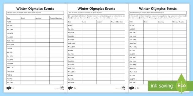 ks2 winter olympics events differentiated worksheet activity sheet. Black Bedroom Furniture Sets. Home Design Ideas