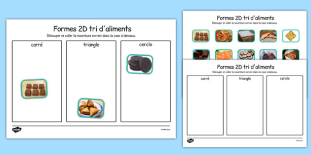 Formes en 2D Food Sorting - french, food, 2d shape, sorting, activity, francais