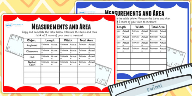 Measurements and Area Table Maths Challenge Cards - measure, math