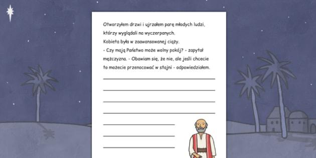 Arkusz do pisania opowiadania Boże Narodzenie po polsku