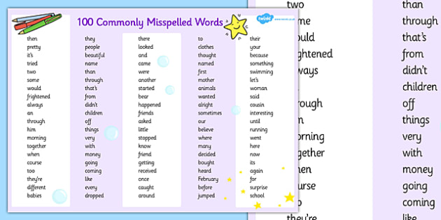 Commonly Misspelled Words Placemat