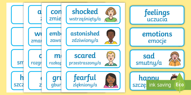 Emotions Word Cards English/Polish - emotions, word cards, flashcards,  feelings, special needs, labels communication, speech and languag