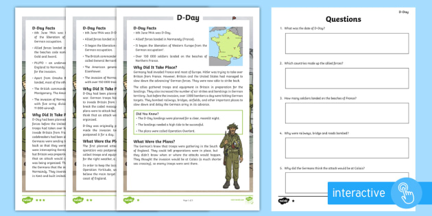 D-Day Differentiated Comprehension Worksheet / Activity Sheets