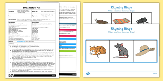 EYFS Pass the Bucket Rhyming Bingo Adult Input Plan and Resource Pack - EYFS, Early Years planning, adult led, Letters and Sounds, rhyme, phonics, Phase 1, aspect 4