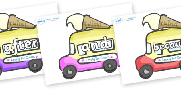 Connectives on Ice Cream Vans - Connectives, VCOP, connective resources, connectives display words, connective displays