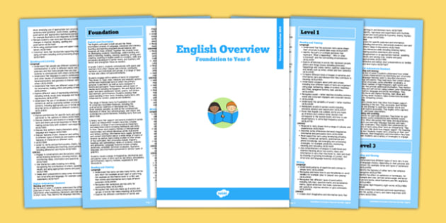 AusVELs Victorian Curriculum Foundation to Level 6 English Overview - australia