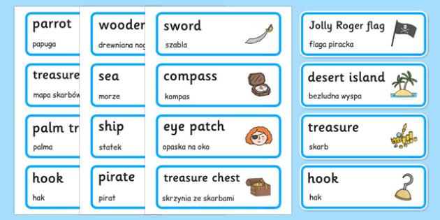 Pirate Word Cards Polish - polish, Pirate, Pirates, Topic, Word card, word cards, pirate, pirates, treasure, ship, jolly roger, ship, island, ocean