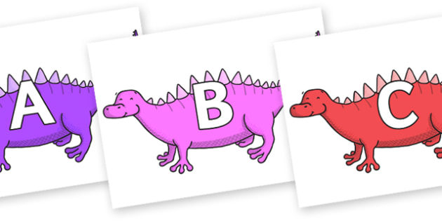 A-Z Alphabet on Scelidosaurus - A-Z, A4, display, Alphabet frieze, Display letters, Letter posters, A-Z letters, Alphabet flashcards