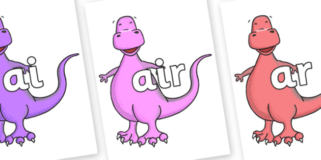 Phase 3 Phonemes on Tyrannosaurus - Phonemes, phoneme, Phase 3, Phase three, Foundation, Literacy, Letters and Sounds, DfES, display