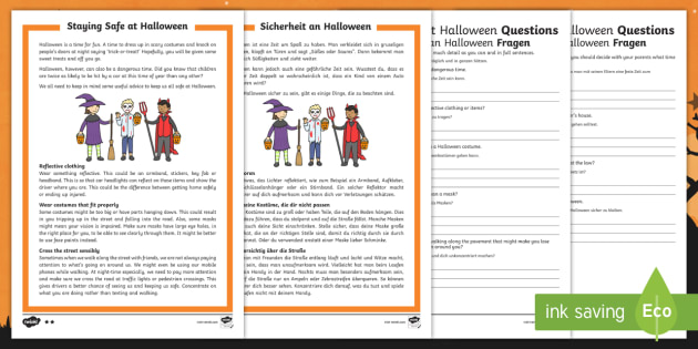 Staying Safe At Halloween Reading Comprehension Activity ...