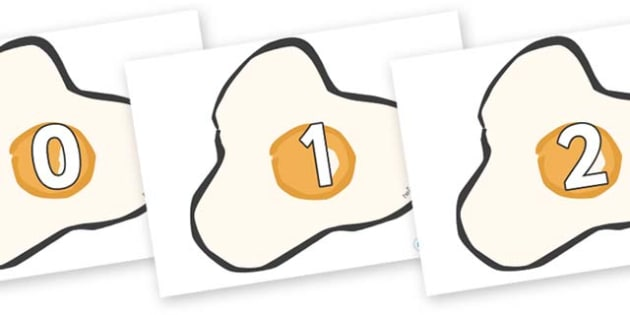 Numbers 0-31 on Fried Eggs - 0-31, foundation stage numeracy, Number recognition, Number flashcards, counting, number frieze, Display numbers, number posters
