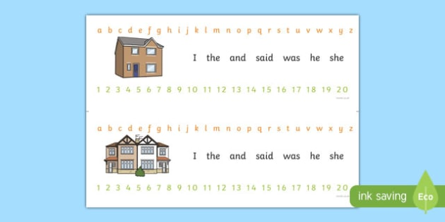 Alphabet Strips (Houses and Homes)- house, home, building, Alphabet, Learning letters, Writing aid, Writing Area, brick, stone, detached, terraced, bathroom, kitchen, door, caravan, where we live, ourselves