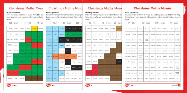 Christmas Maths (Mixed Operations) Mosaic Worksheet ...