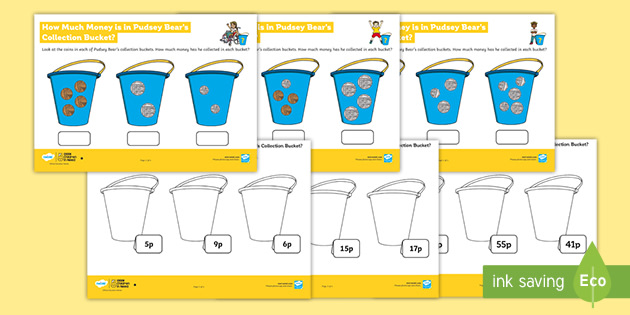 KS1 BBC Children in Need How Much Money in Pudsey's Bucket? Maths Differentiated Worksheets
