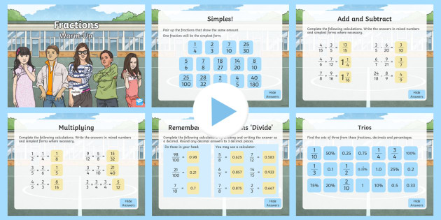 year 6 fractions maths warmup powerpoint ks2 maths warm up