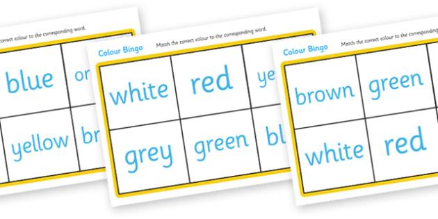 Colour Bingo - bingo, colour, game, activity, lotto, black, white, red, green, blue, yellow, orange, purple, pink, brown