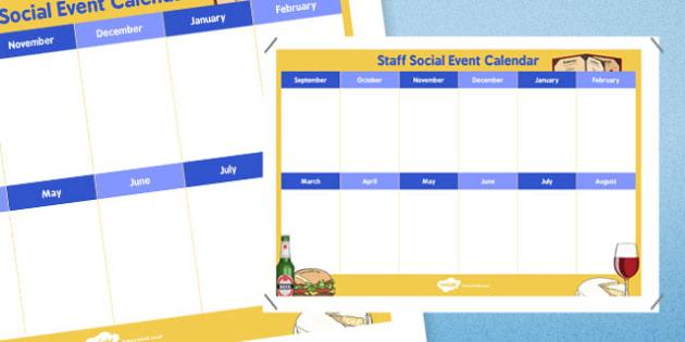 Staff Social Event Calendar - staff, social event, calendar, event calendar, staff social, event, social