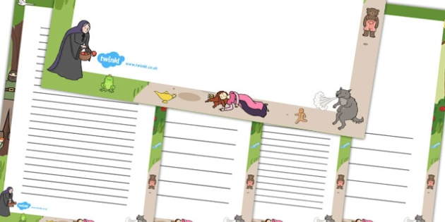 Traditional Tales Page Borders - writing aid, writing template