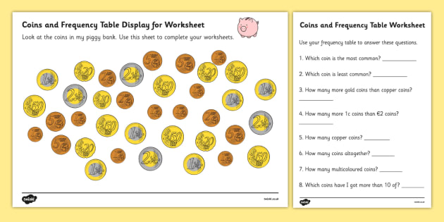 Coins In Piggy Bank Euros Worksheets - money, maths ...
