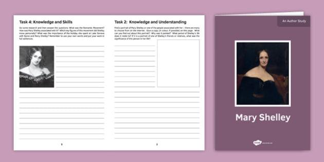 Mary Shelley Author Study Activity Sheet, worksheet