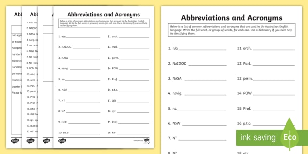 abbreviations and acronyms set 4 worksheet activity sheet abbreviations. Black Bedroom Furniture Sets. Home Design Ideas