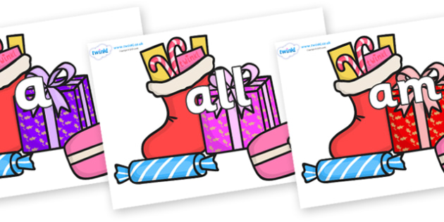 Foundation Stage 2 Keywords on Christmas Gifts - FS2, CLL, keywords, Communication language and literacy,  Display, Key words, high frequency words, foundation stage literacy, DfES Letters and Sounds, Letters and Sounds, spelling