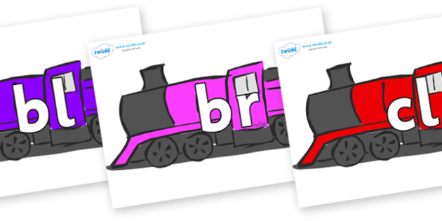 Initial Letter Blends on Trains - Initial Letters, initial letter, letter blend, letter blends, consonant, consonants, digraph, trigraph, literacy, alphabet, letters, foundation stage literacy