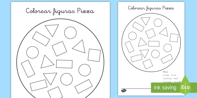Hoja de colorear: Las figuras planas de una pizza - pizza