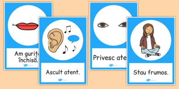Reguli de comportare - Planșe cu imagini și cuvinte - ascultăm, atenție, imagini, de afișat, planșe, reguli, regulile, regulile clasei, începerea școlii, romanian, materiale, materiale didactice, română, romana, material, material didactic
