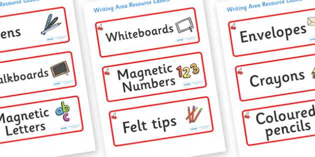 Cherry Themed Editable Writing Area Resource Labels - Themed writing resource labels, literacy area labels, writing area resources, Label template, Resource Label, Name Labels, Editable Labels, Drawer Labels, KS1 Labels, Foundation Labels, Foundation