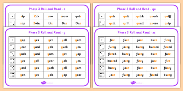 Phase 3 Letter Progression Set 7 y z zz qu Phoneme Roll Read Mat