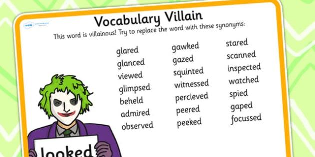 Vocabulary Villain Looked Word Mat - vobaulary, word mat, looked