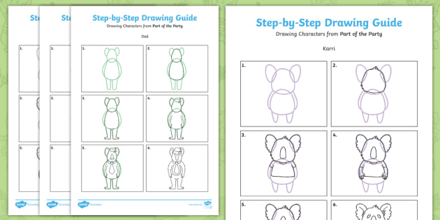 New Part Of The Party Step By Step Drawing Instruction