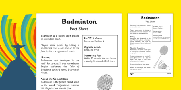 Rio 2016 Olympics Badminton Fact Sheet - rio 2016, rio olympics, 2016 olympics, badminton, fact sheet