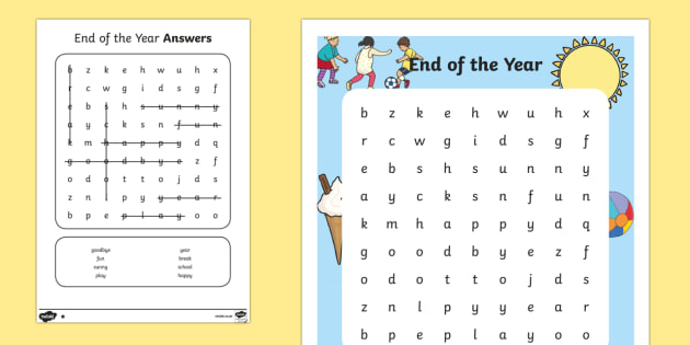 Sa End Of Year Differentiated Word Search