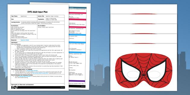 Superhero Super Listening EYFS Adult Input Plan - superhero