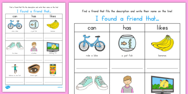 I Found a Friend Activity Sheet, worksheet