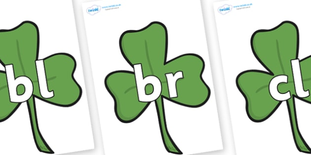 Initial Letter Blends on Clovers - Initial Letters, initial letter, letter blend, letter blends, consonant, consonants, digraph, trigraph, literacy, alphabet, letters, foundation stage literacy