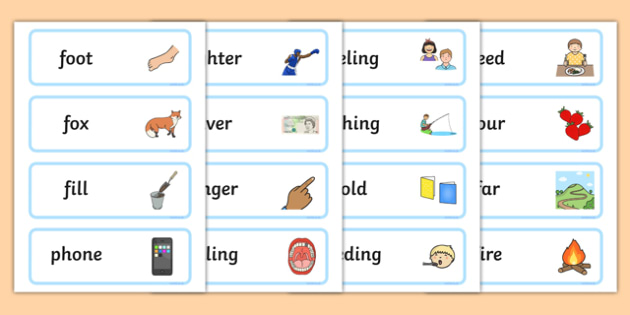 Initial f Sound Word Cards - initial f, sound, sounds, word cards