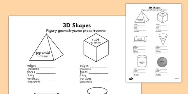3D Shape Properties Worksheets Polish Translation - polish, 3d shape, properties, worksheets
