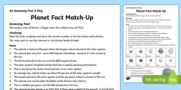 planet fact match up worksheet activity sheet worksheet. Black Bedroom Furniture Sets. Home Design Ideas